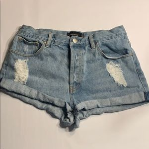 MINKPINK Light blue distressed denim shorts